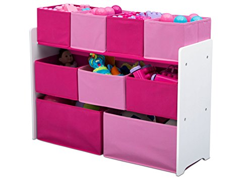 Delta Children Deluxe Multi-Bin Toy Organizer with Storage Bins, White/Pink