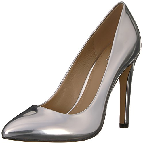 40 Silver Pump (The Fix Women's Madeline 120mm Pointed-Toe Pump, Silver Lamé, 9.5 B US)