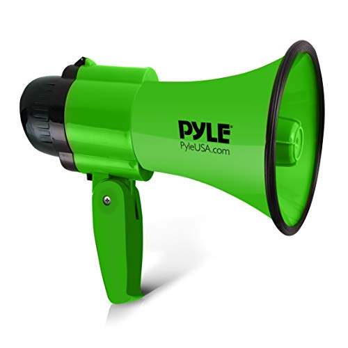 Portable Megaphone Speaker Siren Bullhorn - Compact and Battery Operated with 30 Watt Power, Microphone, 2 Modes, PA Sound and Foldable Handle for Cheerleading and Police Use - Pyle PMP32GR (Green)