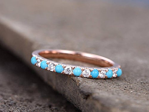 Turquoise Wedding Band Round CZ 925 Sterling Silver Rose Gold Plated Bridal Stacking Ring Stackable by Milejewel Wedding Band (Image #3)