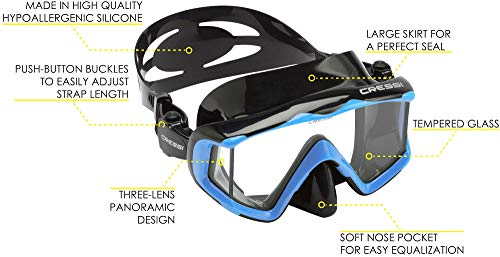 Scuba mask defog. Cressi Pano 3, Black-Blue. Scuba mask clearing