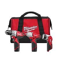 Milwaukee 2493-23 M12™ Cordless LITHIUM-ION 3-Tool Combo Kit