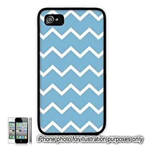 Sky Blue Thin Chevrons Pattern Apple iPhone 4 4S Case Cover Skin Black