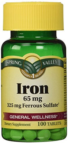 Spring Valley - Iron 65 mg, 200 Tablets - Equivalent to 325 mg Ferrous Sulfate, Twin Pack