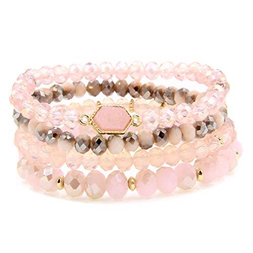 YUJIAXU Gold Beaded Bracelet Set, Square Stone Hexagon Druzy Stretch Beaded Stackable Bracelets Bangles (Pink Druzy)