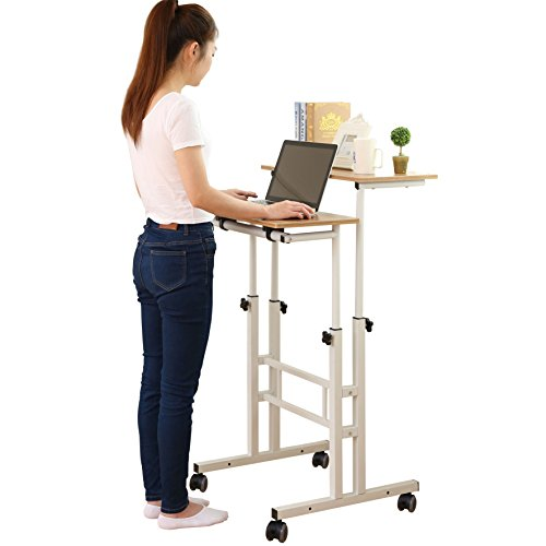 SDADI 2 Inches Carpet Wheel Mobile Stand Up Desk Height Adjustable Home Office Desk With Standing and Seating 2 Modes 3.0 Edition Dark Grain - Home Office Furniture Package