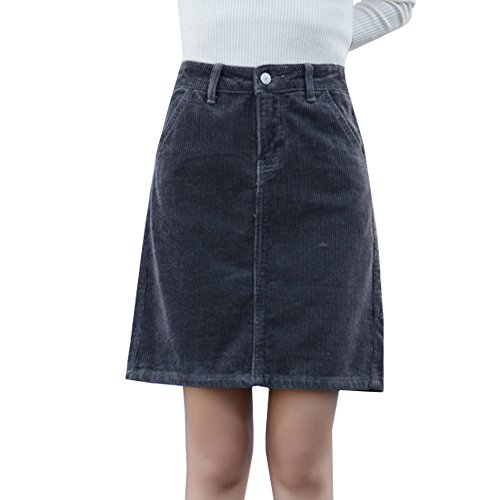 Deofean Women's Short Vintage A-Line Corduroy Skirts With Pockets Grey W29-US 6