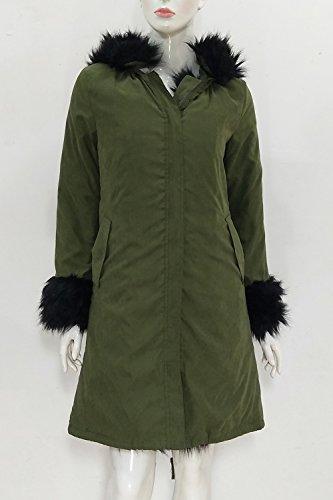 Casual Capa Abajo De Chaqueta Faux Caliente La Espesar Mujer Con Capucha Fur Invierno Parkas Verde Externa Suelto Forrado pxUE4AZq