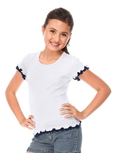 Kavio! Big Girls 7-16 Lettuce Edge Short Sleeve Top White/Navy M - Lettuce Edge T-shirt