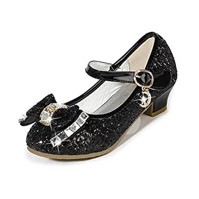 Amtidy Little Girls Mary Jane Wedding Party Shoes Glitter Bridesmaids Low Heels Princess Dress Shoes Black 1M Little Kid