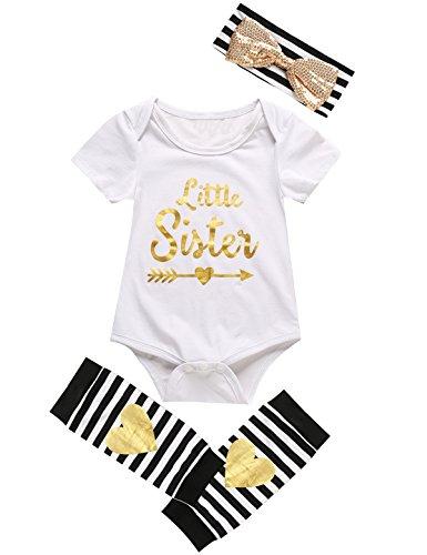 Mini Era 3PCS Outfit Set Baby Girls Bodysuit Tops + Headband + Leg Warmer (6-12 Months, White)
