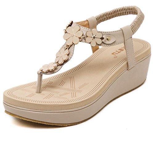 Sandalias mujer Tangas Strap redondo para playa de verano Chanclas planos Bead Apricot Zapatos de T Elastic Sandalias Clip Toe qfrwTqt