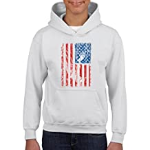 Xekia USA Flag Praying Hands American Hoodie For Girls - Boys Youth Kids