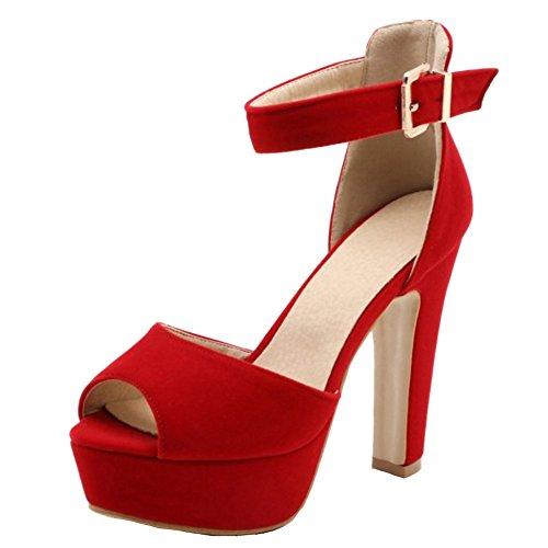 RAZAMAZA Mujer Moda Plataforma tacon Alto Sandalias correa al tobillo Fiesta Zapatos Rojo