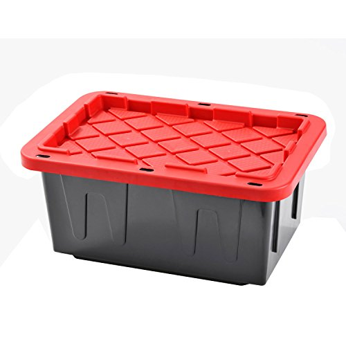 UPC 017567114934, Plastic Heavy Duty Storage Tote Box, 15 Gallon, Black With Red Lid, Stackable,4-PACK