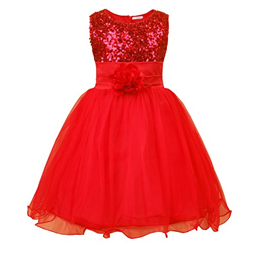 JerrisApparel Little Girls' Sequin Mesh Flower Ball Gown Party Dress Tulle Prom (6, Red) (Red Dresses For Little Girls)