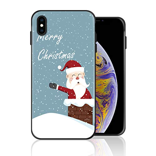 Silicone Case for iPhone Xs Max, Chimney Santa Claus Design Printed Phone Case Full Body Protection Shockproof Anti-Scratch Drop Protection Cover