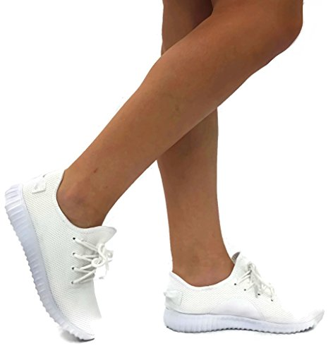The Collection Jill Womens Athletic Shoes Casual Fashion Breathable Sports Sneakers, White, 6 White Athletic Sneakers
