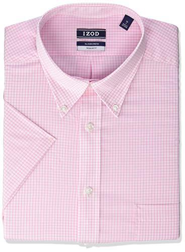 - IZOD Men's Regular Fit Short Sleeve Check Dress Shirt, Carnation, 18.5