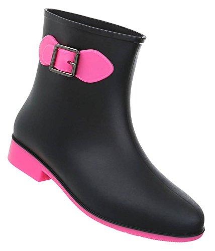 Damen Schuhe Stiefeletten Gummi Boots Modell Nr.1 Schwarz