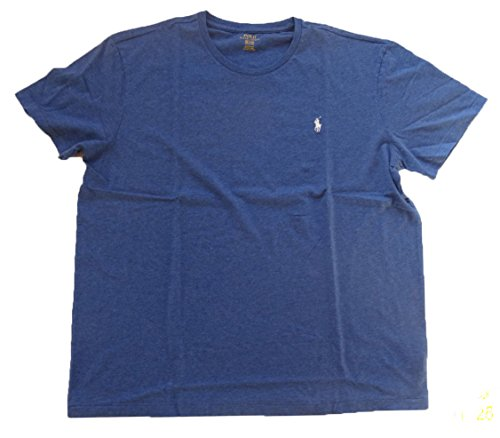 Royal Blue Heather (Polo Ralph Lauren Men's Classic Fit Solid Crewneck T-Shirt (Large, Royal Blue Heather/White Pony))
