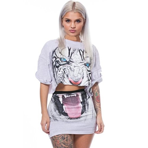 - Women Tiger Print Split 2 Piece Set Casual Skirt Casual Outfit Sportswear White