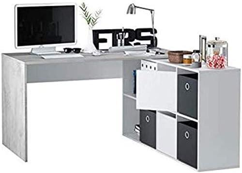 Bricozone Murcia Scrivania Scrittoio Multiposizione con Scompartimenti Mobile da Ufficio per Computer Desk Soggiorno Sala da Pranzo 150 x 72 x 90 cm Colore Cemento