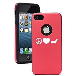 Apple iPhone 5 5S Red 5D1879 Aluminum & Silicone Case Cover Peace Love Dachshund