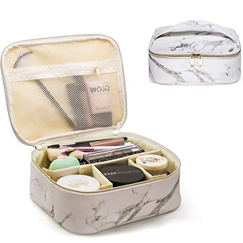 Makeup Bag Organizer Travel Marble Cosmetic Case Portable Large Toiletry Bag with Brush Holder PU Gold Zipper Pencil Storage Case for Women,White