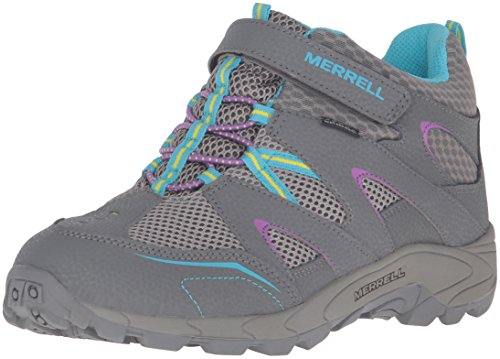 [Merrell Hilltop Quick Close Wtrpf Hiking Boot, Grey/Multi, 3.5 M US Big Kid] (Boots Shoes For Kids)