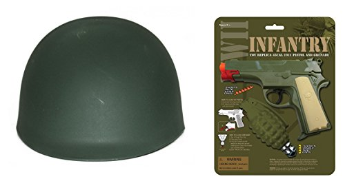 Military WWII Adult Green Helmet Costume Toy 1911 Pistol Cap Grenade Soldier Set (Wwii Replica Weapons)
