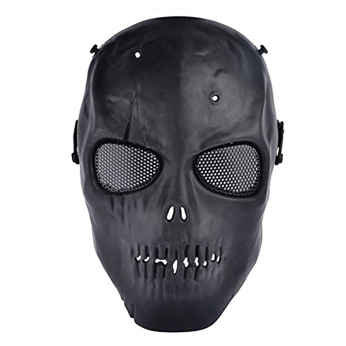 BeyongGear Airsoft Mask, Paintball Airsoft BB Tactical Cs War Game Outdoor Cosplay Halloween Mask Skull Skeleton Full Face Mask Anti Fog Eye Kids with Metal Mesh Eye Protection (BlackB)
