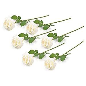 Home Essentials DII 6 Piece Artifical Open Rose Silk Flowers for Bridal Bouquet 25