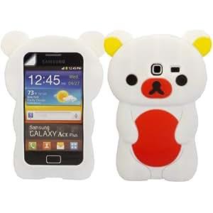 Teddy Silicona Cubrir Caso Piel Y Pantalla LCD De Guardia Para Samsung Galaxy Ace Plus S7500 / White