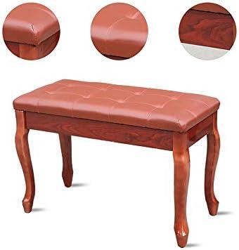 キーボード椅子 ミュージシャンのための2人のユニバーサルソリッドウッドピアノスツール付収納棚曲線脚スツール電子ピアノの椅子に最適 ピアノスツール (色 : 赤, Size : 75x35x50cm)