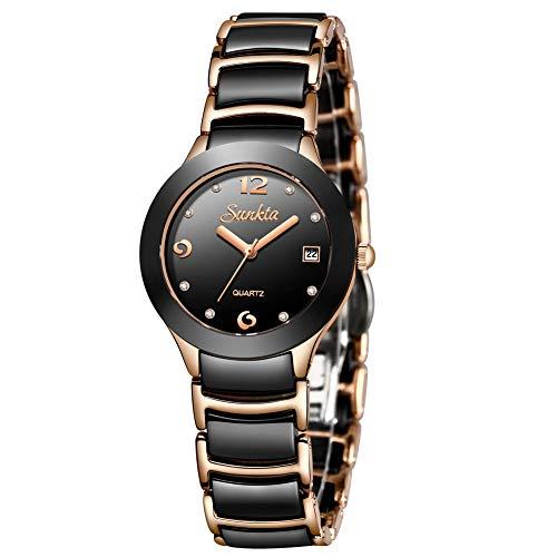 LIGE Women's Watches Fashion Casual Lightweight Analog Quartz Watch for Women Waterproof Ceramic Band Simple Elegant Thin Ladies Watch Luxury Business Calendar Rose Gold Black Lady Bracelet ()