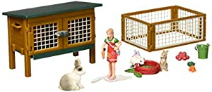 Schleich North America Rabbit Hutch with Rabbits & Feed Playset