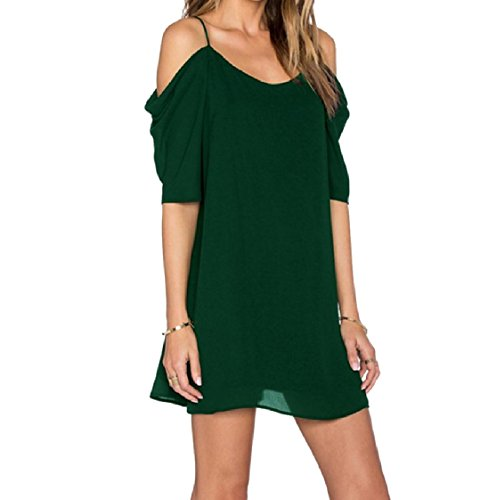 Solid Sling Coolred Women Chiffon Shoulder Out Mid Blackish Green Colored Off Cut Dress xwFC6wqA