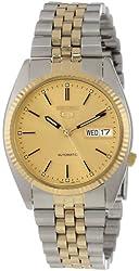 Seiko Men's SNXJ92 Seiko 5 Automatic Gold Dial Two-Tone Stainless-Steel Watch