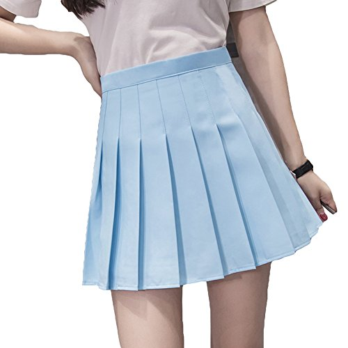 Mxssi Sexy Mini Robe Femmes Fille Mince Taille Haute Jupes Plisses Bleu Ciel