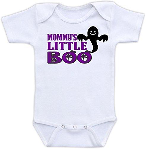 Mommy's Little Boo - Cute Halloween Unisex Baby Bodysuit (24M Short Sleeve Bodysuit, Purple Font) ()
