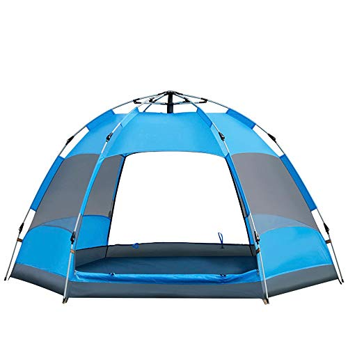 - DR - Automatic Tent Double Hex Outdoor 3-5 People Breathable Rain Family Camping Tent 240x240x135cm Compact Event Tent (Color : Blue)