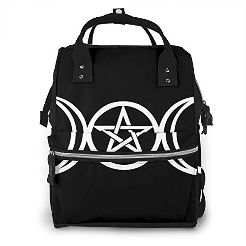 Diaper Backpack Wicca Triple Moon Pentacle Pagan Baby Bag Fashion Waterproof Travel Backpack Mummy Nappy Changing Bag Organizer with Stroller Straps