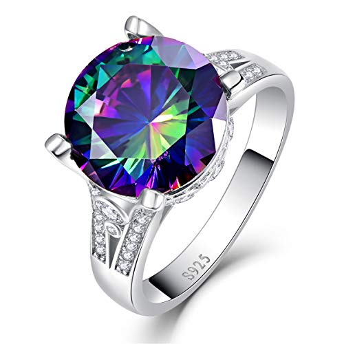 (BONLAVIE Solitaire Engagement Rings Created Mystic Rainbow Topaz Round Cut White Cubic Zirconia CZ Pure 925 Sterling Silver Size 5 )