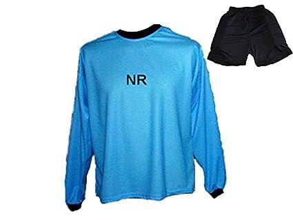 Torwart Trikot gepolstert Blau kurze TW Hose mit Wunschname Nummer Kinder Größen