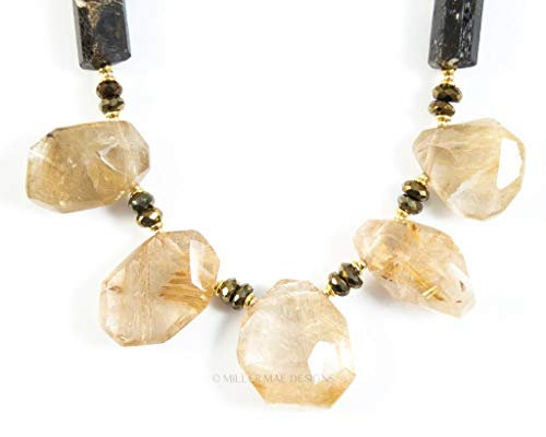 (Rutilated Quartz Nugget, Spinel, and Chocolate Brown Tourmaline Necklace - 19 Inches Long Handmade Statement Necklace by Miller Mae Designs )