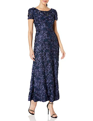 Alex Evenings Women's A-Line Rosette Sleeve Gown with Sequin Detail, Navy, 14 (Mother Of Bride Long Dresses With Sleeves)