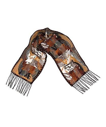 Brown Moroccan Mares Fringe Silk Scarf