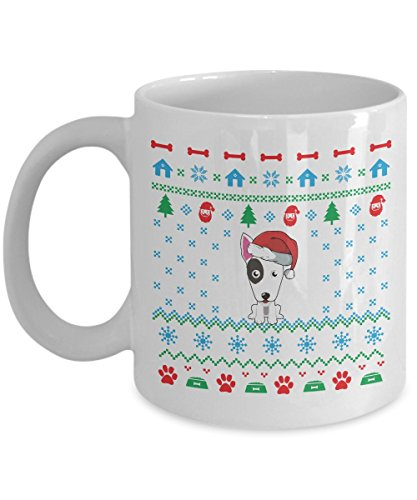 Bull Terrier Dog Ugly Christmas Sweater Mug (White, 11 Oz) - Gifts for Bull Terrier Dog Lovers Owners