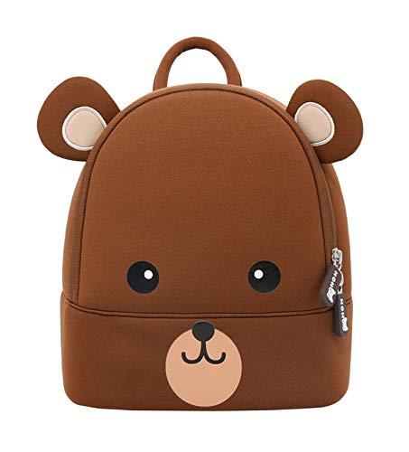 NOHOO Toddler Kids Backpack Brown Bear Bag Cute Cartoon Mini Travel Bag for Baby Girl Boy 2-6 Years (S)